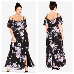 NWT City Chic Flourish Black Floral Maxi Dress